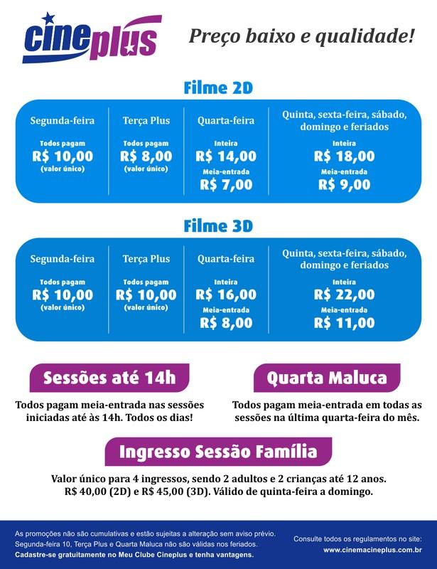 Valores dos ingressos Cineplus Emacite Mafra (fevereiro de 2020)