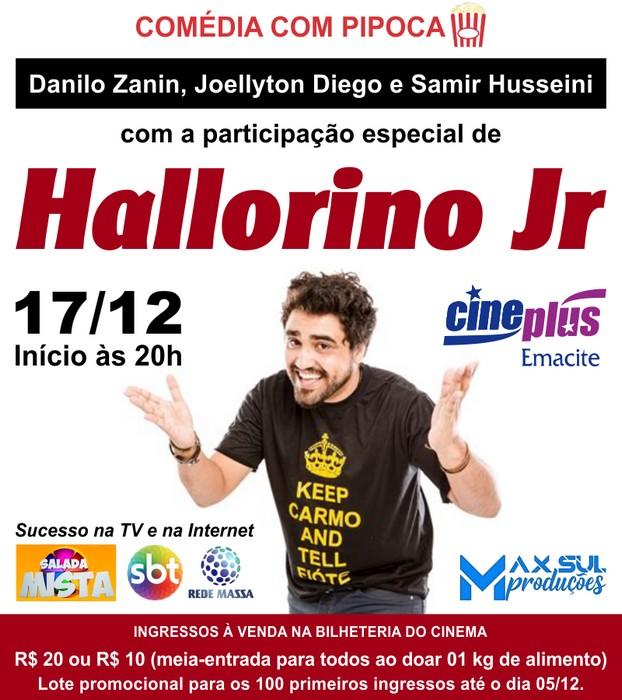 Humorista Hallorino Jr se apresenta em Mafra no dia 17 de dezembro