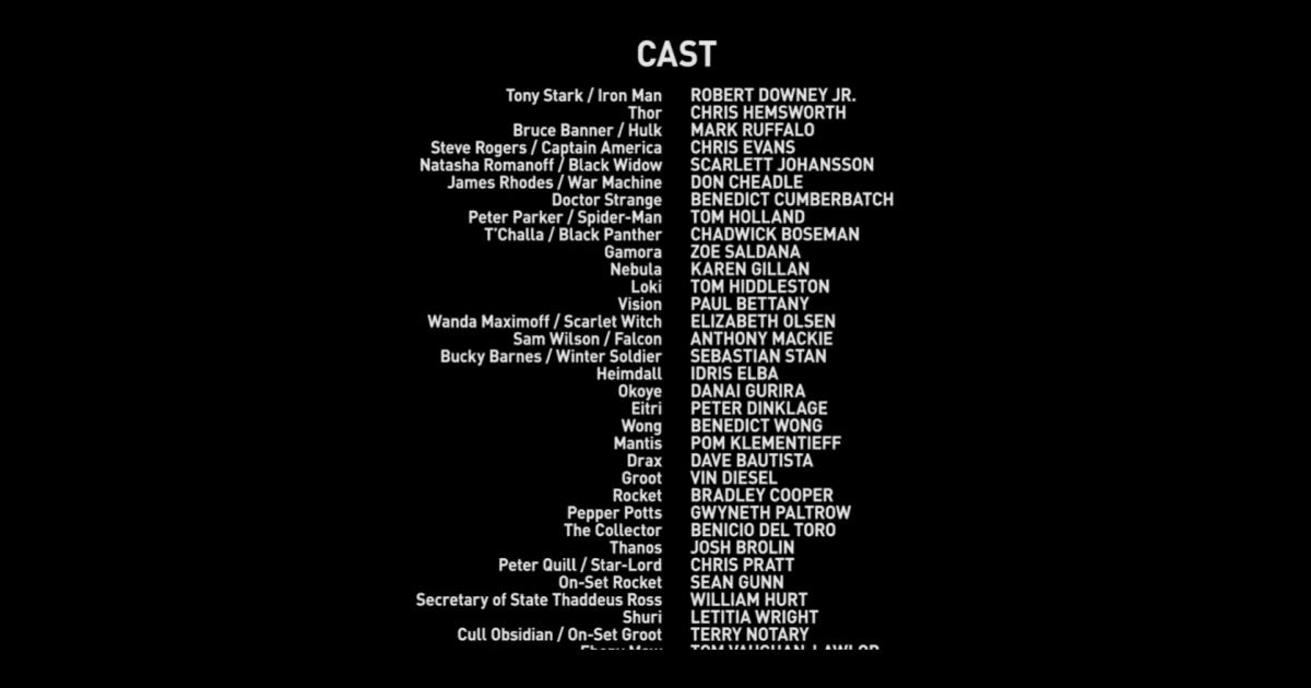 Exemplo de tela de créditos de filme