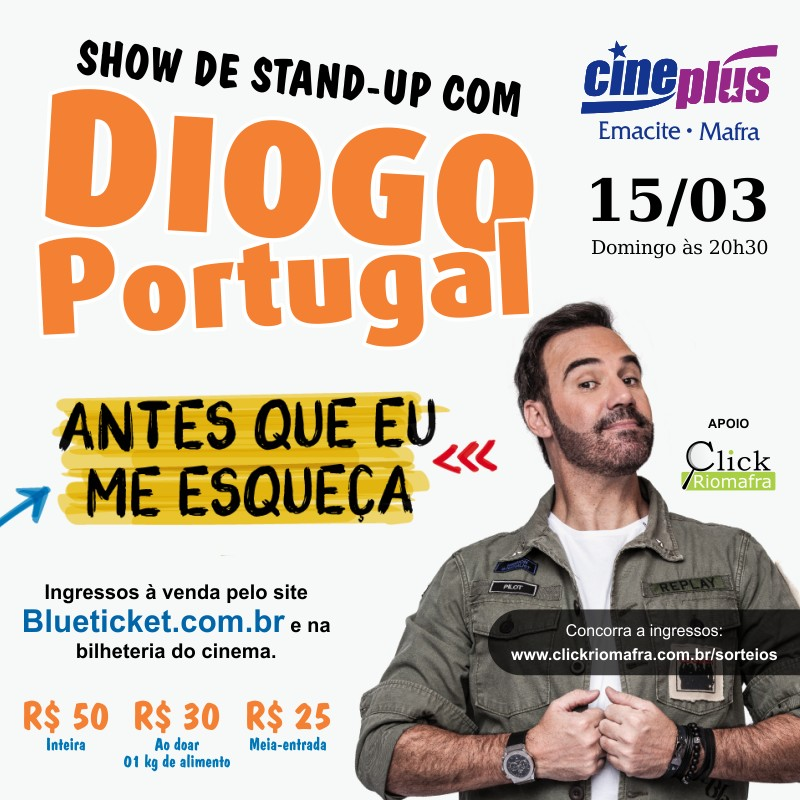 Cineplus Emacite terá Stand-up com Diogo Portugal