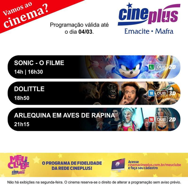 Programação de filmes no Cineplus Emacite