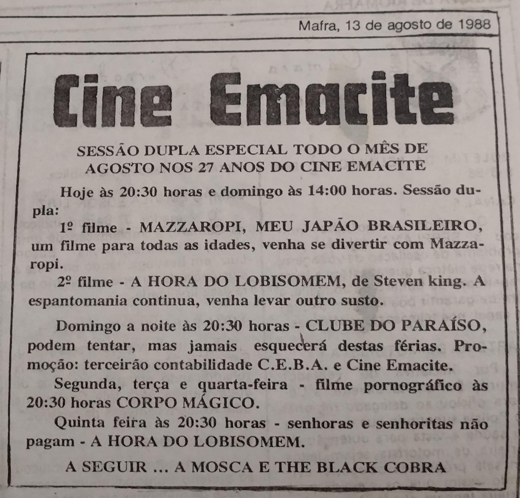 Programação do Cine Emacite em 1988
