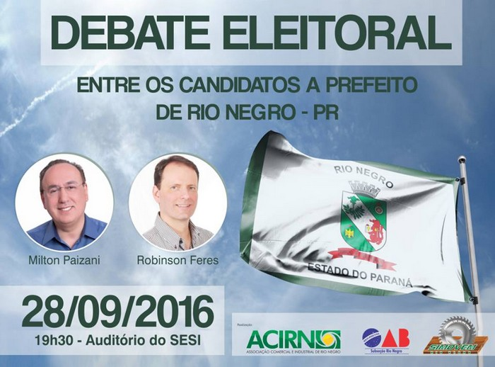 Hoje é a vez dos candidatos de Rio Negro se enfrentarem em debate